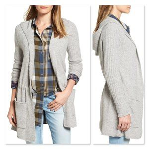 Caslon Hooded Tunic Cardigan sz Small in Gray